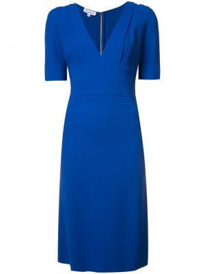 Приталенное платье с V-образным вырезом Narciso Rodriguez. Цвет: синий