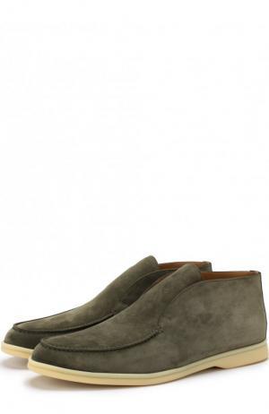 Замшевые ботинки Open Walk без шнуровки Loro Piana. Цвет: оливковый