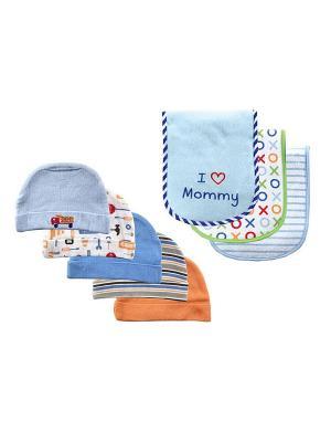 Комплект Шапочки, 5 шт.+ Салфетки для кормления, 3 шт. Luvable Friends. Цвет: голубой, оранжевый