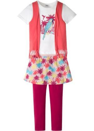 Футболка с жилеткой + легинсы юбкой (2 изд.) (розовый ярким рисунком) bonprix. Цвет: розовый с ярким рисунком