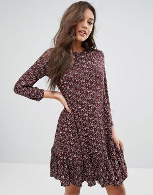 Y.A.S Платье с заниженной талией и длинными рукавами. Цвет: фиолетовый