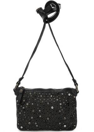 Маленькая кожаная сумка с отделкой камнями Campomaggi. Цвет: черный