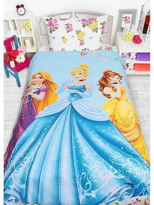 Комплект постельного белья 1,5сп (Принцессы с десертом) н(1)50*70 Disney. Цвет: голубой