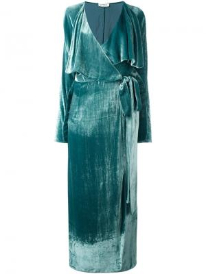 Платье с длинными рукавами и запахом Attico. Цвет: зелёный