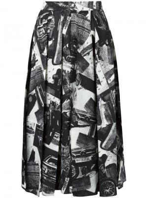 Юбка с абстрактным принтом Veronique Leroy. Цвет: чёрный