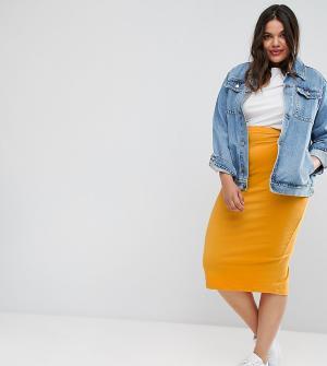 ASOS Curve Трикотажная юбка-карандаш миди. Цвет: желтый
