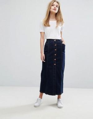 Gestuz Темная джинсовая юбка Christina. Цвет: синий