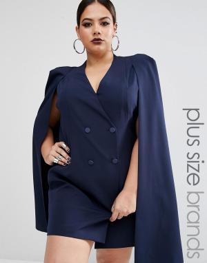 Lavish Alice Plus Платье-кейп с разрезом сзади. Цвет: темно-синий