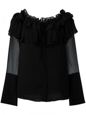 Блузка с оборками Opening Ceremony. Цвет: чёрный