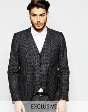 Noak Супероблегающий пиджак в мелкую клеточку. Цвет: черный