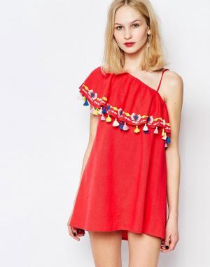 Piper Платье на одно плечо с оборками и кисточками Java. Цвет: красный
