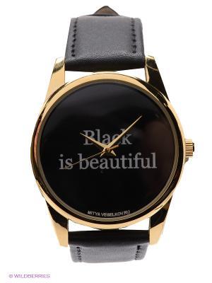 Часы Mitya Veselkov Black is beautiful. Цвет: черный, золотистый