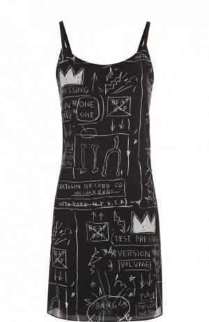 Шелковое платье на тонких бретельках и контрастным принтом Alice + Olivia. Цвет: черный