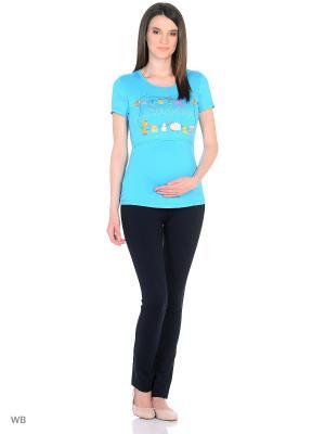 Футболка для беременных и кормления EUROMAMA. Цвет: голубой