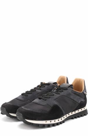Комбинированные кроссовки  Garavani Rockrunner с камуфляжным принтом Valentino. Цвет: черный