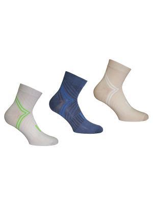 Носки 3 пары Master Socks. Цвет: синий, светло-серый, бежевый