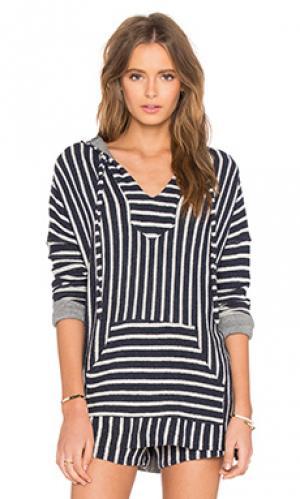 Пляжный пуловер с капюшоном tuf Michael Lauren. Цвет: синий