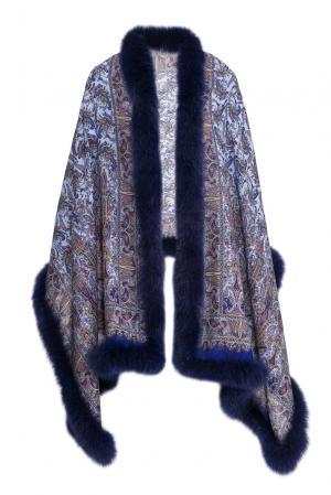Палантин с отделкой из меха песца 120104 Kaminsky. Цвет: синий