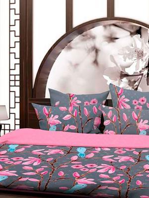 Комплект постельного белья Павлин Волшебная ночь. Цвет: голубой, розовый, серый, белый