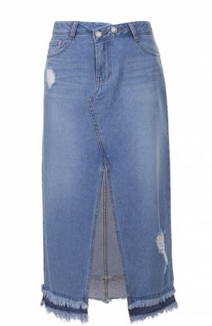 Джинсовая юбка-миди с бахромой и высоким разрезом Steve J & Yoni P. Цвет: голубой