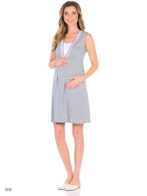 Ночная сорочка для беременных и кормящих ФЭСТ. Цвет: серый, розовый