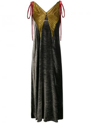 Бархатное платье макси Attico. Цвет: серый