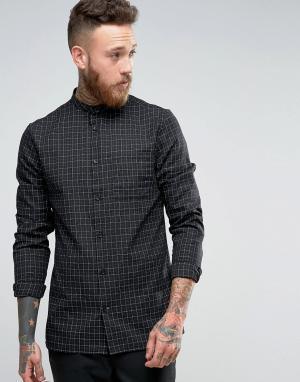Hoxton Shirt Company Рубашка узкого кроя в клетку. Цвет: черный