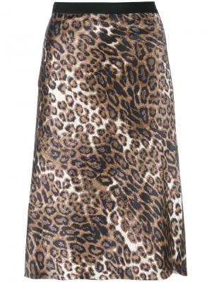 Юбка с леопардовым принтом Nili Lotan. Цвет: коричневый
