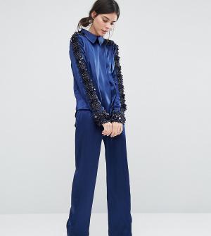 Starry Eyed Petite Атласные пижамные брюки Premium. Цвет: темно-синий
