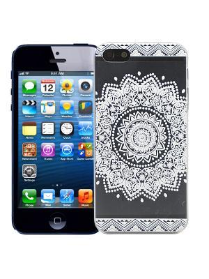 Чехол для iPhone 5/5s Мехенди Круг (белый) Kawaii Factory. Цвет: черный, белый
