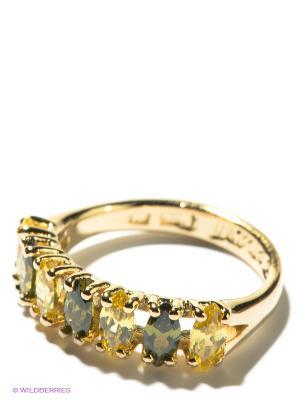 Кольцо Jenavi. Цвет: золотистый, желтый, зеленый