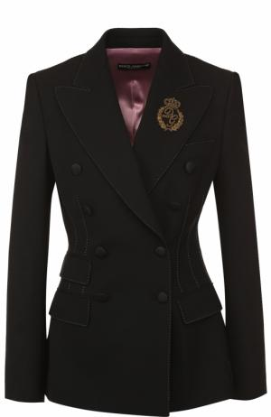 Двубортный приталенный жакет с декоративной отделкой Dolce & Gabbana. Цвет: черный