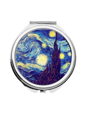 Зеркальце карманное  Ван Гог, Звездная ночь Chocopony. Цвет: темно-синий, желтый