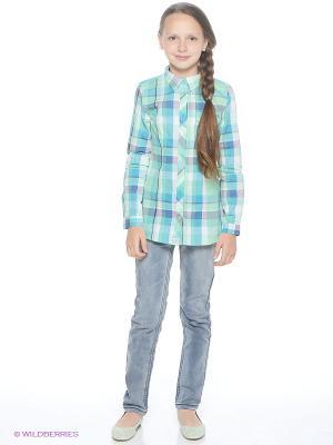 Блузка Young Reporter. Цвет: бирюзовый