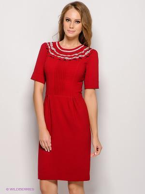 Платье KEY FASHION. Цвет: темно-красный, белый