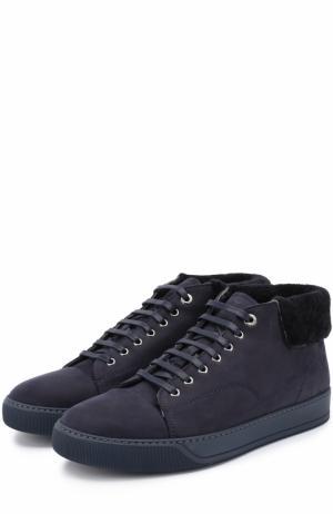 Высокие кожаные кеды на шнуровке с внутренней меховой отделкой Lanvin. Цвет: темно-синий