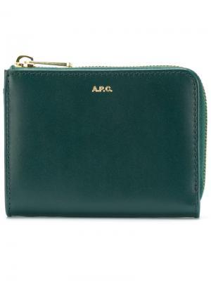 Кошелек с логотипом A.P.C.. Цвет: зелёный
