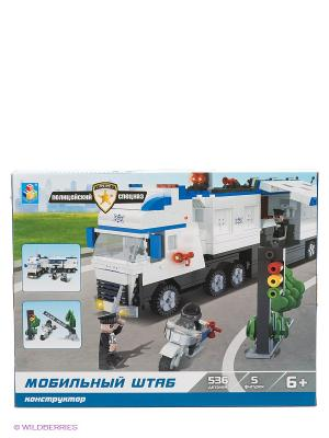Конструктор Полицейский спецназ. Мобильный штаб (536 деталей) 1Toy. Цвет: белый, синий, черный