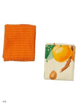 Набор кухонных полотенец - 2шт. (38*64) Dorothy's Нome. Цвет: оранжевый