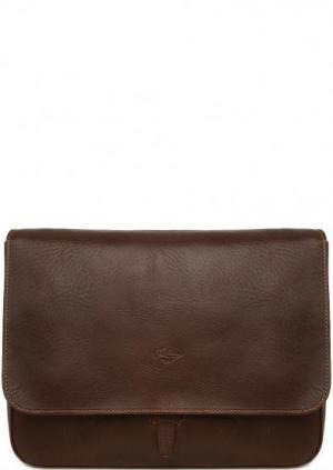 Кожаная сумка с откидным клапаном Boldrini. Цвет: коричневый