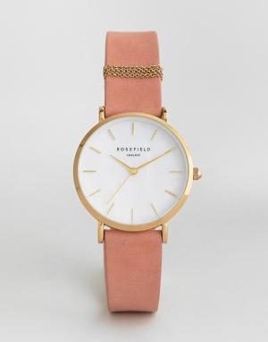 Rosefield Часы с розовым кожаным ремешком 33 мм. Цвет: розовый