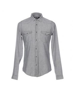 Джинсовая рубашка ROŸ ROGER'S DE LUXE. Цвет: серый