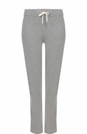 Хлопковые брюки с контрастными лампасами и эластичным поясом Escada Sport. Цвет: серый
