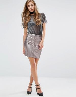 Miss Selfridge Джинсовая мини-юбка металлик. Цвет: серебряный