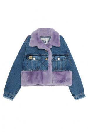 Джинсовая куртка с меховой отделкой Natasha Zinko. Цвет: джинсовый/лиловый