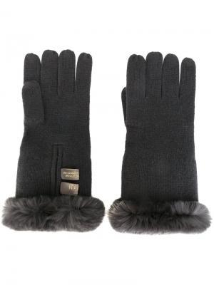 Перчатки с отделкой из кроличьего меха N.Peal. Цвет: серый