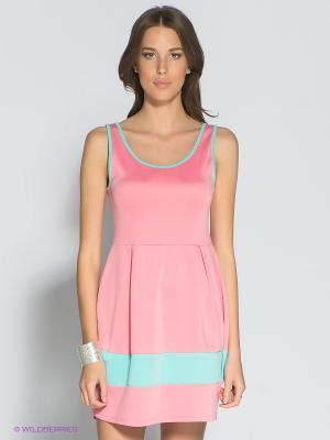 Платье Eunishop. Цвет: розовый, светло-зеленый