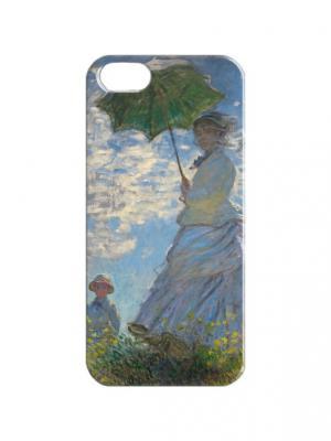 Чехол для iPhone 5/5s Клод Моне - Дама с зонтиком Арт. IP5-357 Chocopony. Цвет: голубой, зеленый