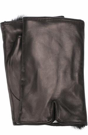 Кожаные митенки с меховой подкладкой Sermoneta Gloves. Цвет: черный