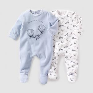 2 пижамы из велюра, 0 месяцев - 3 года R essentiel. Цвет: синий/белый